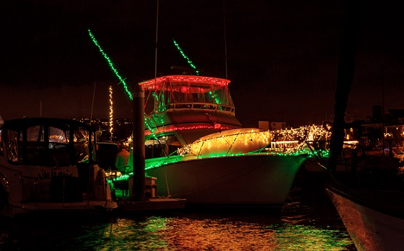 Boat with lots of lights