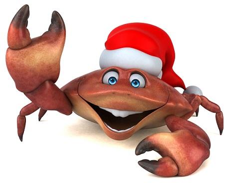 Santa hat crab 3d