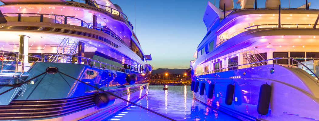 Superyachts on the port of Antibes, French Riviera