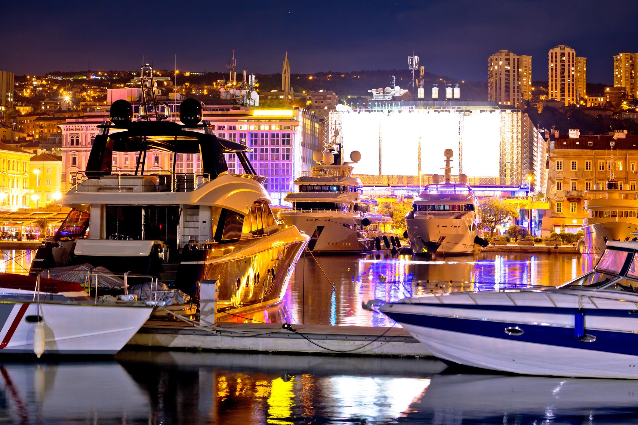 City of Rijeka yachting waterfront evening view, Kvarner bay, Croatia
