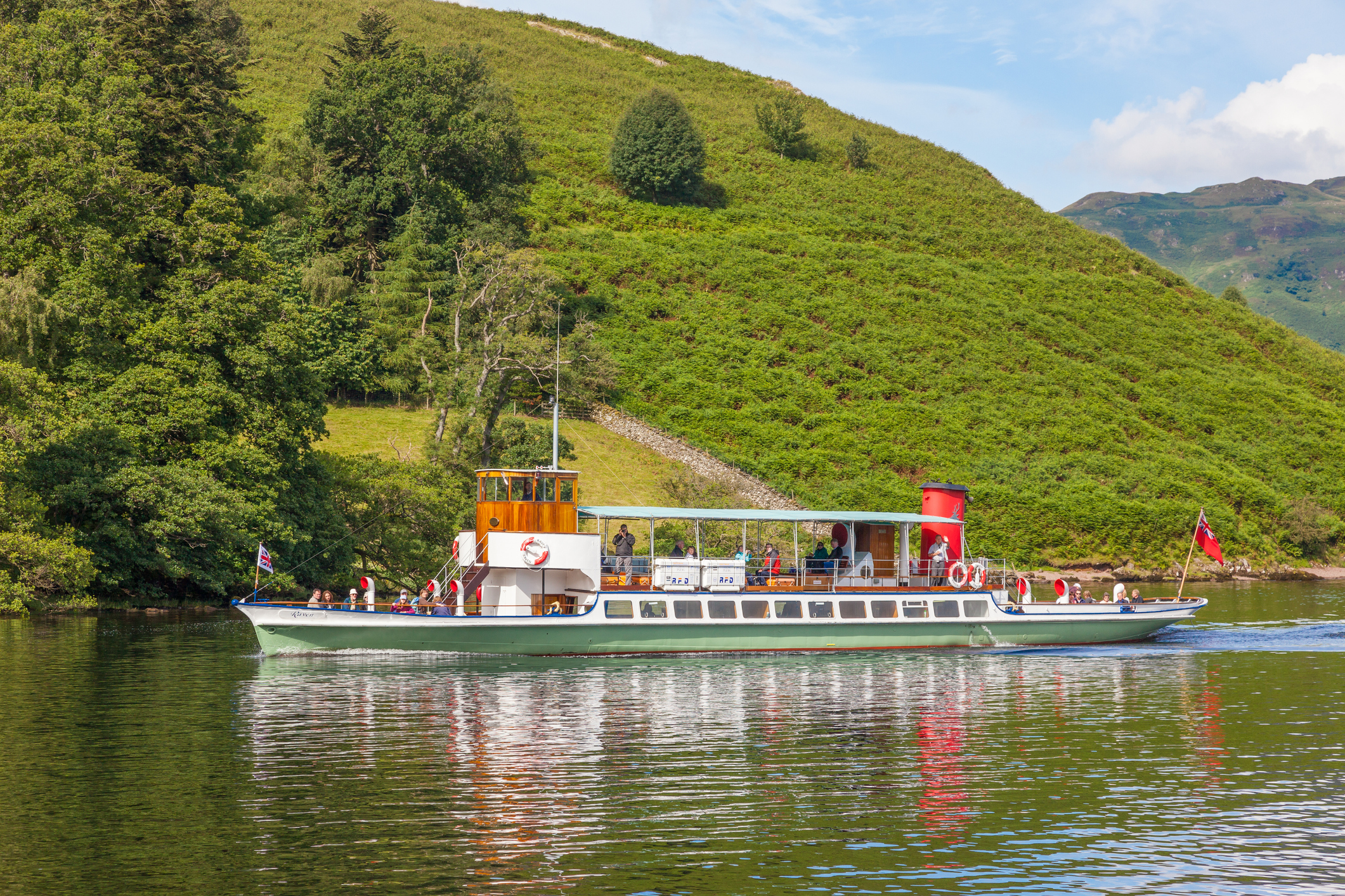 Tourists aboard the 'Raven' on Ullswater, in the English Lake District