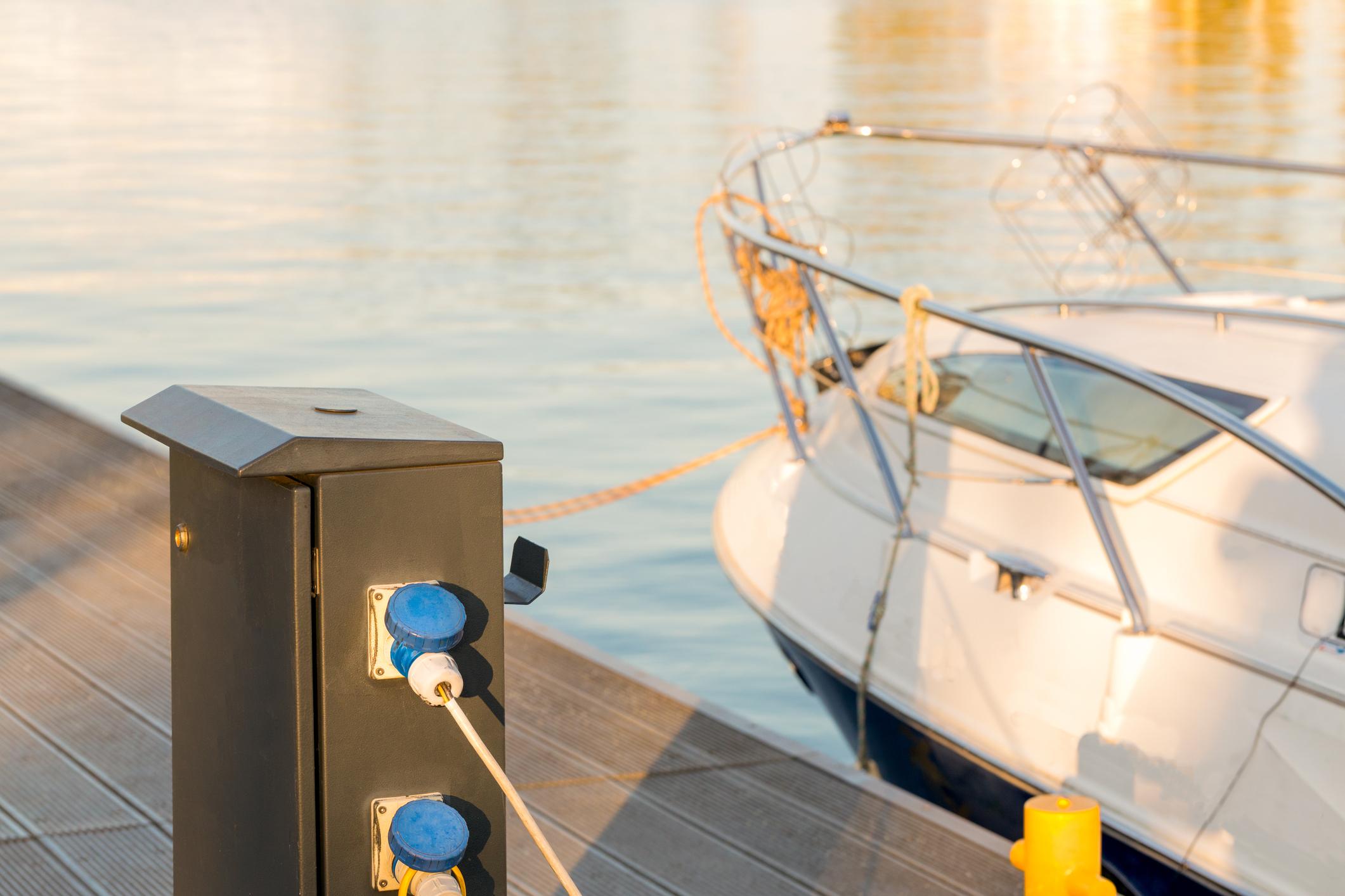 Charging boat batteries at the marina
