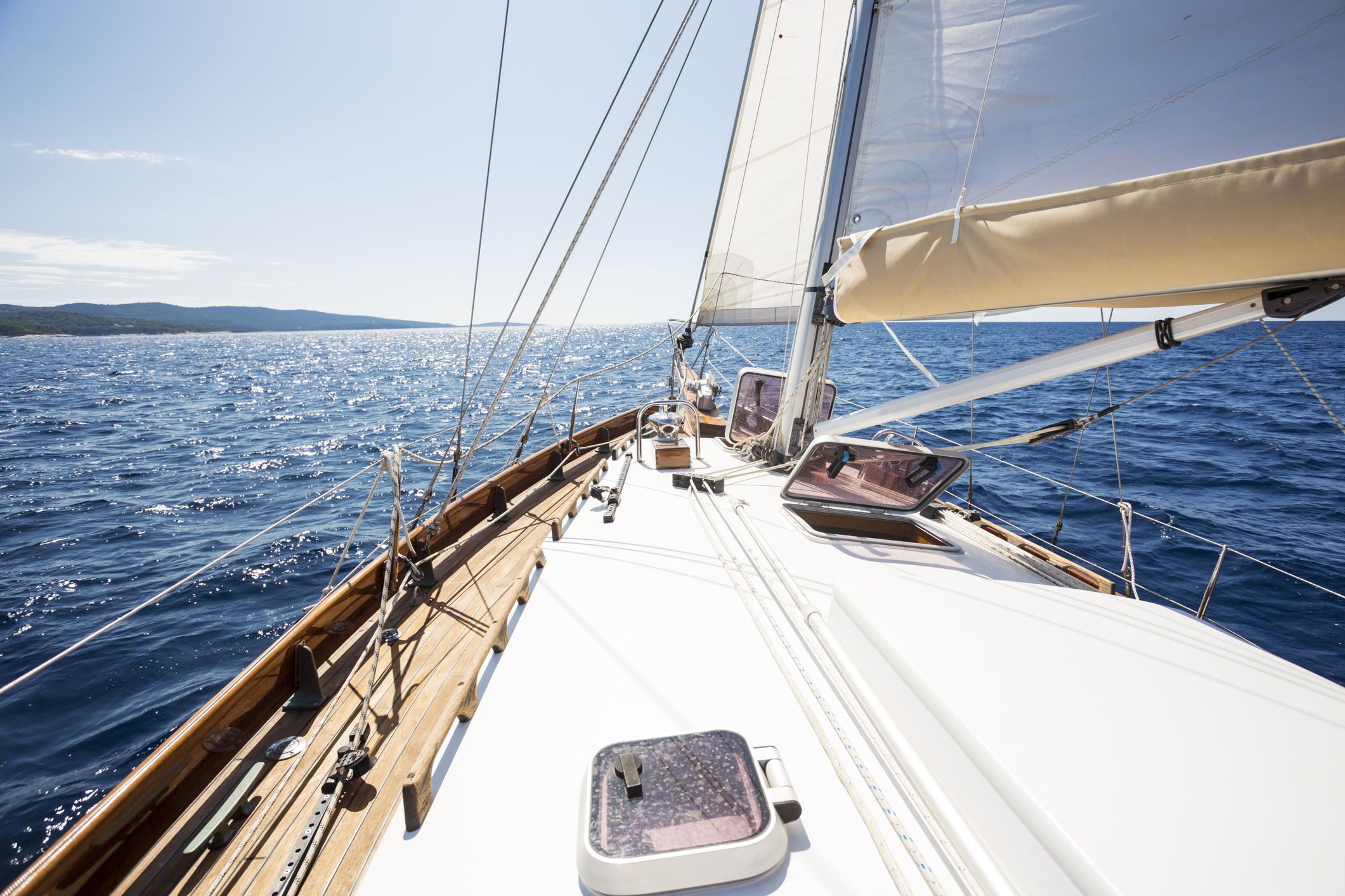 yacht bow in Mediterranean sea in the middle of the sunny summer day