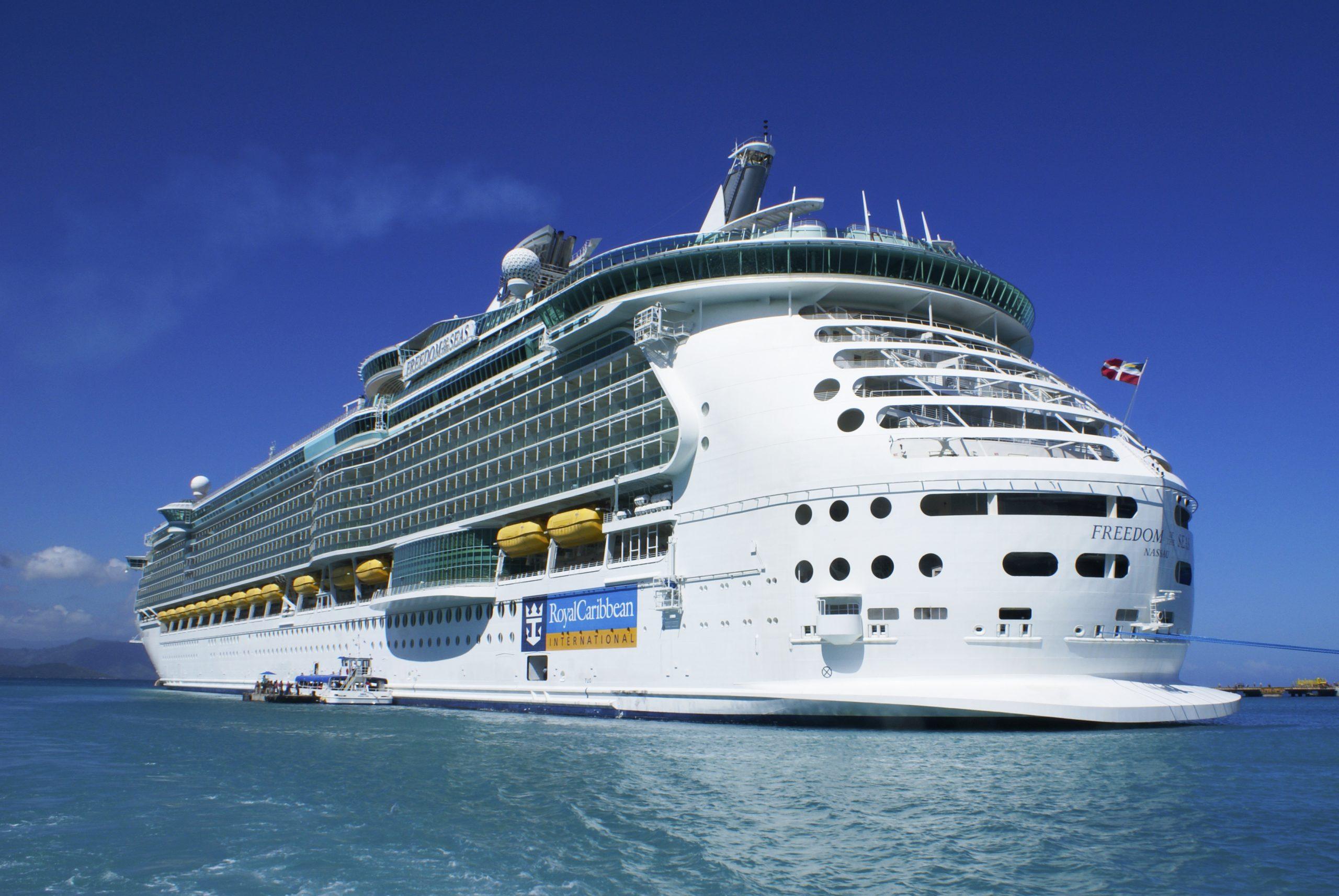 Royal Caribbean Cruises, Freedom of the seas cruise ship anchored in Labadee.